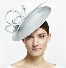 John Lewis Erin Swirl Downturn Occasion Hat, Fascinator Platinum Grey Wedding