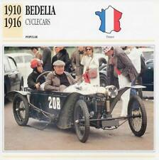 1910-1916 BEDELIA Cyclecar Classic Car Photograph / Information Maxi Card