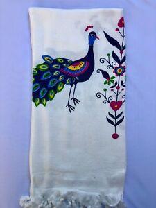 Turkish Pareo Beach And Bath Towel Peshtemal  Natural Printed Viskose Cotton M-4
