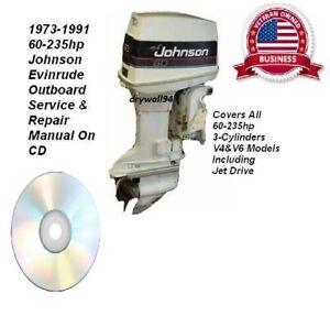 1973-91 Johnson Evinrude 60-235hp Outboard Service & Repair Manual CD