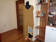 LAUREN VIDAL TOBACCO COLOUR 1/2 BUTTONED SLEEVELESS CRINKLED KAFTAN LONG DRESS-L