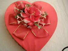 Vintage Fannie May Valentine Red Heart Shape Candy Box Satin And Plastic Flowers