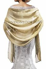 Ladies Lovely Evening Dress Silky Gold Shawl Bridesmaid Wedding Prom Stole Wrap