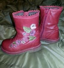 Next red with flowers girl boots size 5