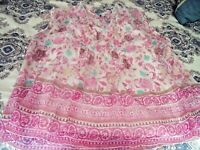 NICE Womens XL SONOMA Pink Floral Sleeveless BLOUSE Top Pleats Sheer W/ CAMI