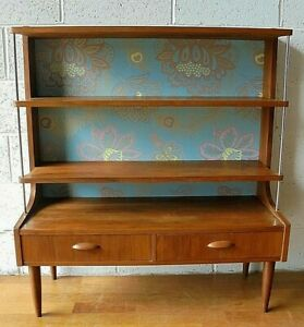 RARE VINTAGE RETRO TEAK MID CENTURY BOOKCASE WALL UNIT ROOM DIVIDER WITH DRAWERS
