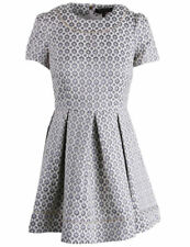 NEW Womens Juicy Couture Black Label Ang-Silver Ornate Geo Jacquard Dress AU 14