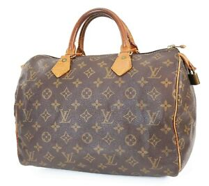 Authentic LOUIS VUITTON Speedy 30 Monogram Boston Handbag Purse #39193