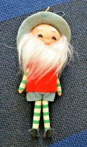Vintage Christmas Ornament Japan Bearded Elf Felt Grandpa Grandfather Old Man