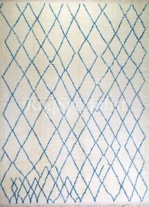 Contemporary Moroccan Wool Rug in Ivory and Blue