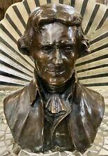 THOMAS JEFFERSON Bronze Bust ~ Listed Artist DAVID P. ADICKES  (American b.1927)