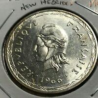 1966 NEW HEBRIDES SILVER 100 FRANCS CROWN BRILLIANT UNCIRCULATED