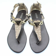 GUESS Jacquard Fabric Chain Brown Flip Flop Thong T-strap Sandal Shoes - Size 8