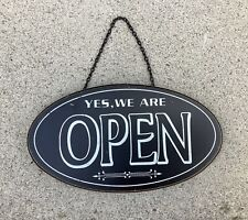 VINTAGE YES WE ARE OPEN HANGING WOODEN SIGN PLAQUE ~ SHABBY CHIC