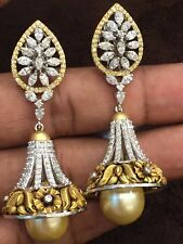 Pave 39.40 Cts Natural Diamonds Pearl Jhumki Earrings In Solid Hallmark 14K Gold