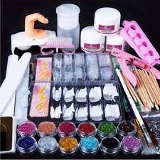 12 Nail Art Kits Acrylic Powder Liquid Glitter UV GEL Glue Tips Brush Set Oz