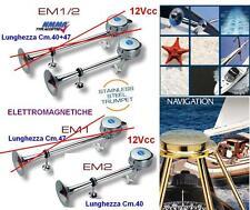TROMBA MARINA NAUTICA INOX Cm.40 ELETTROMAGNETICA 12V 118dB BARCA e CAMPER EM2