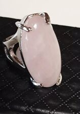 Big Silver Electro Chinese Export Rose Quartz Natural Gemstone Cabochon Ring 6.5