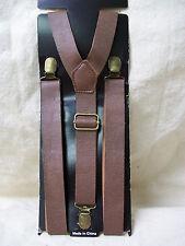Brown Fake Leather Suspenders Braces 40s Steampunk Oktoberfest Lad Hansel Cowboy
