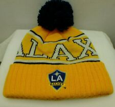 Los Angeles Galaxy MLS Soccer Yellow Knit Beanie Hat Pom Top New By Adidas