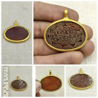 Islamic Rare Beautiful Gold Plated Red Agate Pendant With Quranic Verses # H12