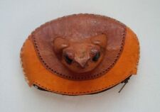 HANDMADE VINTAGE FROG HEAD SKIN LEATHER COIN PURSE WALLET