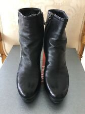 Prada Black Leather Ankle Boots Heels Size 6