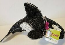 Orca Killer Whale Glass Beaded Wire Sculpture Black Grassroots Beadworkx