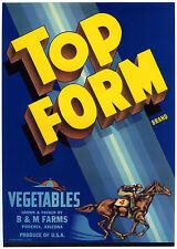 TOP FORM~JOCKEY on RACE HORSE~VINTAGE '40s PHOENIX ARIZONA VEGETABLE CRATE LABEL