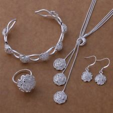 women jewelry Silver Plated fashion Rose Ring Bangle Earring Necklace set hot