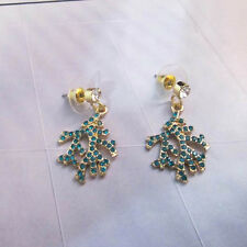 NEW Urban Anthropolo​​gie Coralis Green Rhinesonte Gold Earrings
