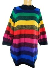 Vintage Venezia Rainbow Striped Pull Over Acrylic Oversized One Size Sweater