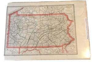 Original/Vintage Antique Map Of Pennsylvania, 1892