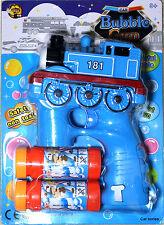 BLUE TRAIN Bubble Gun Blower Blaster with Flashing LED Lights & Music 2 Refill