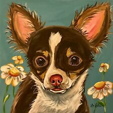 """Chihuahua dog art print from original painting, 10x10"""", signed by artist"""