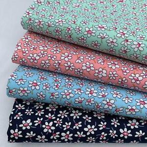 Rose & Hubble 100% Cotton poplin fabric - Daisy Florals, Blue, Pink & Mint