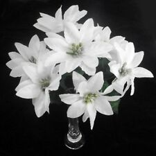 6 WHOLESALE CHRISTMAS POINSETTIA BUNCHES SILK WHITE SILVER CENTER 7 HEADS CRAFT