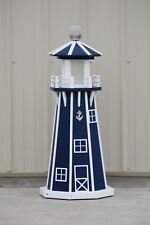 "39"" Octagon Electric and Solar Powered Poly  Lighthouse (Patriot Blue / white)"