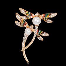 Fashion Jewelry Rhinestone Two Dragonflies Gold Plated Women Scarf Pin & Brooch