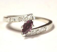 14k white gold .16ct VS G women's diamond red spinel ring 4.8g estate vintage