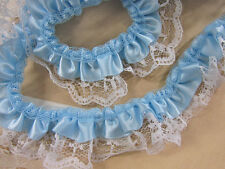 5 yards Satin White French Floral Lace/2 Layer Ruffle Trim/craft T39-Baby Blue