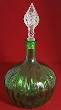 BELLISSIMO Verde Vetro Decanter con tappo in vetro trasparente. altezza: 31 cm.