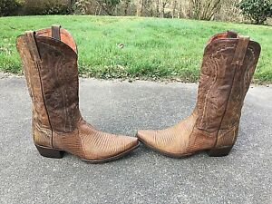 VTG DAN POST MEN'S PEANUT LEATHER EXOTIC LIZARD WESTERN COWBOY BOOTS 10 1/2 D