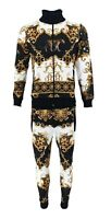 New Mens Tracksuit Baroque Leopard Print Urban Hip Hop Top Bottoms Joggers Set
