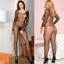 Plus Size Lingerie One Size Queen Black Long Sleeve Fishnet Bodystocking ML1791Q