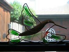 "Vintage 15.5"" X 10.5"" Copper Metal & Stained Art Glass Hummingbird Suncatcher"