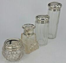 Four antique Glass dressing table jars scent bottles silver mounts 1874-1927