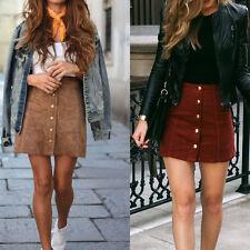 Women High Waist Lace Up Suede Leather Pocket Preppy Short Mini Skirts dress RR