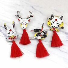 Fire Fox Snake Deer Enamel Pins Japanese Tassel Brooch Badge Animal Ninja Rabbit