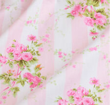 Floral Cotton Fabric - Pink and White Stripes for Bed Sheet Bedding Shabby Chic